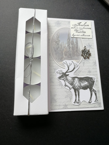 Christmas candle card with reindeer and a view