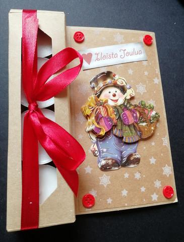 Kynttiläkortti iloista joulua lumiukko