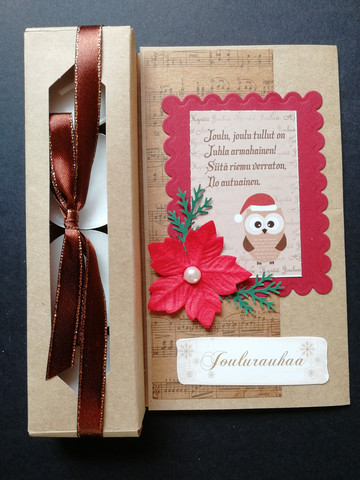 Christmas candle card with an owl