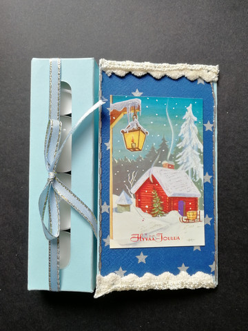 Christmas candle card with a cabin