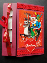 Christmas candle card with elf and reindeer