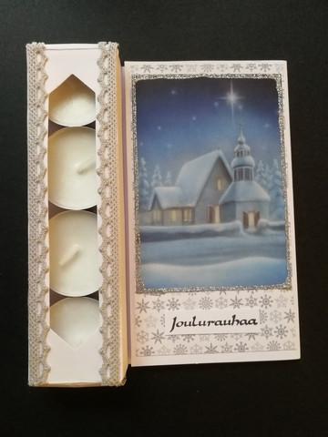 Kynttiläkortti joulurauhaa kirkko