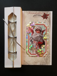 Christmas candle card with a vintage angel