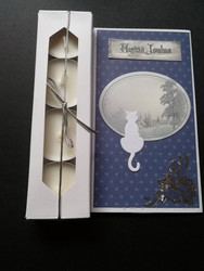 Christmas candle card with a cat
