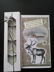 Christmas candle card with a reindeer