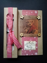 Christmas candle card with a teddy