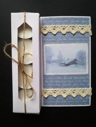 Candle card with winter scenery and lace