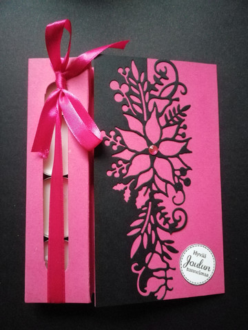 Pink flower Christmas candle card
