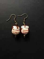 Brown owl earrings