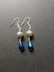 Silver ball and blue bead earrings
