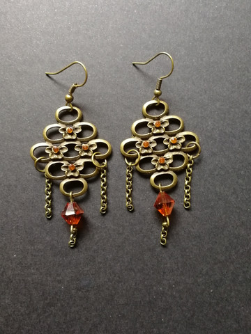 Bronze colored beehive earrings