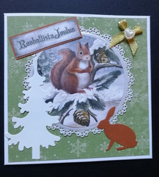 Christmas card squirrel and bunny
