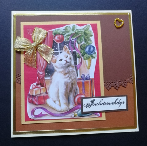 Christmas card white cat