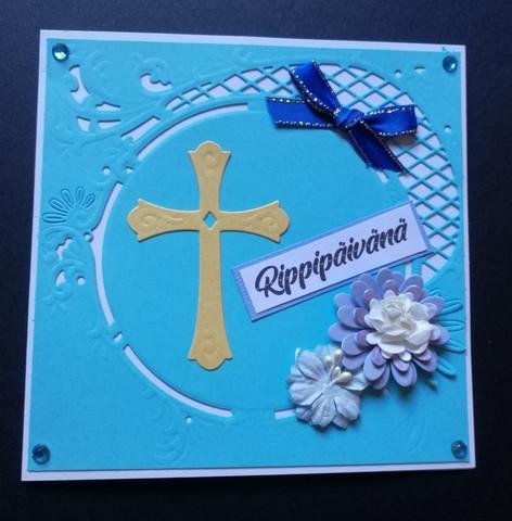 Rippipäivänä kortti risti ja kukat vaaleansininen
