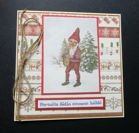 Joulukortti tonttu ja possut