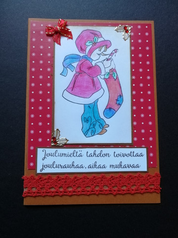 Christmas card with a girl and her stocking