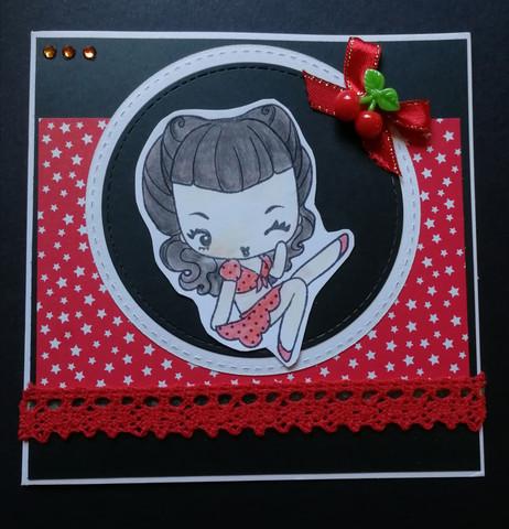 Pin up card girl on polka dots