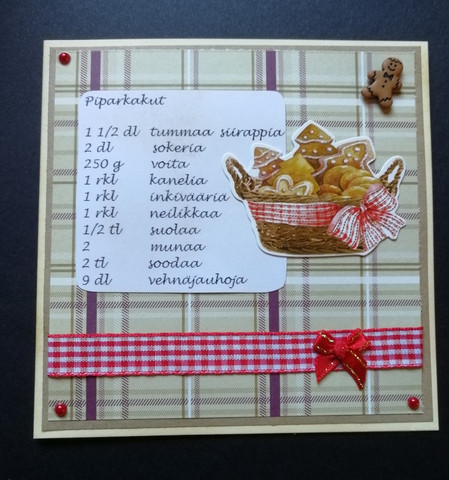 Christmas card with recipe and basket of ginger bread