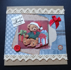 Christmas card with teddy and presents