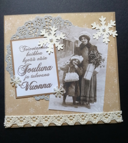 Vintage Christmas card with mother and child