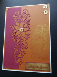 Steampunk flower Christmas card