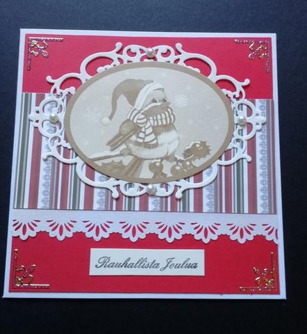 Joulukortti lintu punainen tausta