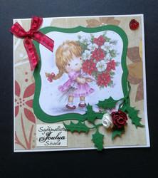 Girl and flower christmas card