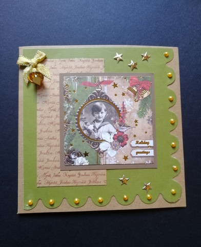 Green Christmas card with vintage boy