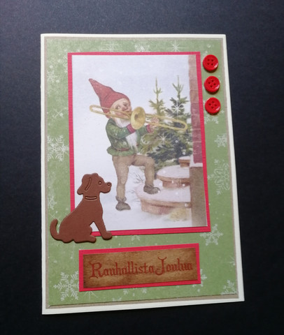 Christmas card with elf and a dog.
