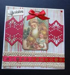 Joulupukki ja lapsi joulukortti