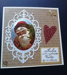 Joulukortti joulupukki ja sydän