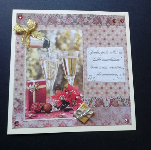 Christmas card with champagne glasses