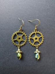Steampunk gear earrings with green rainbow drops