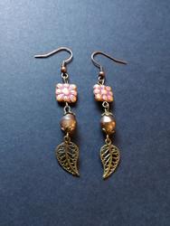 Flower and leaf earrings