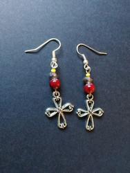 Cross and beads earrings