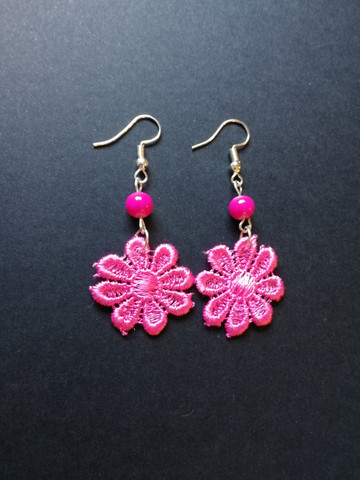 Pink lace flower earrings