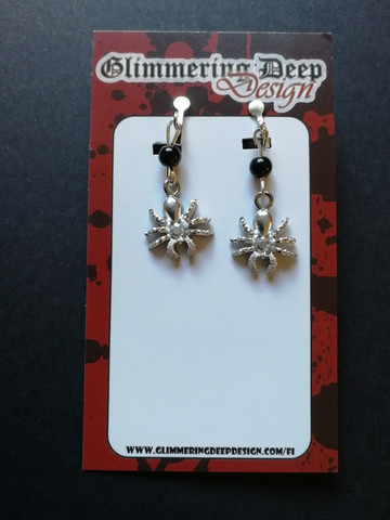 Silver colour Spider Clip Earrings