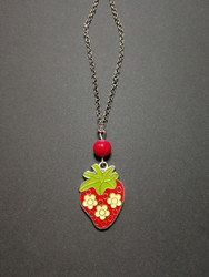 Strawberry necklace with red bead