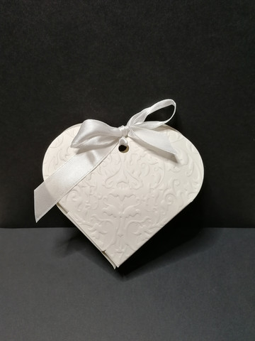 White heart shaped gift bag