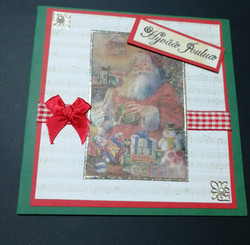 Christmas card Santa with presents