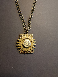 Steampunk necklace with clock parts