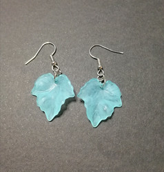 Light turquoise maple leaf earrings