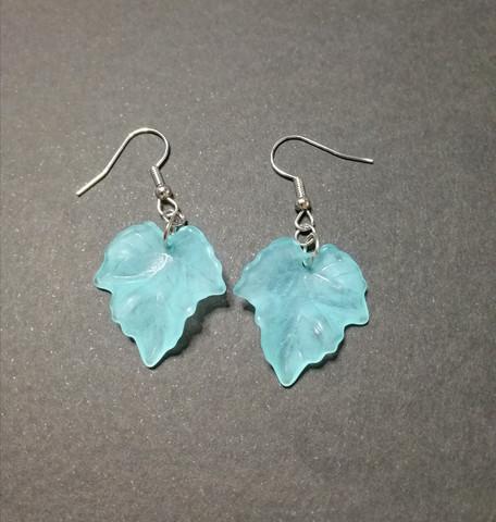 Light turquoise maple leaf earrings