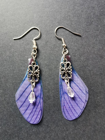 Violet fairy wing earrings