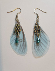 Light blue fairy wing earrings
