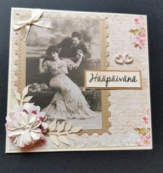Handmade vintage wedding card