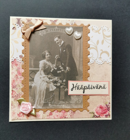 Wedding couple and roses wedding card
