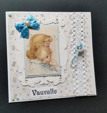 Vaaleansininen kortti vauvalle