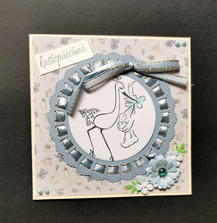 Light blue baby card stork