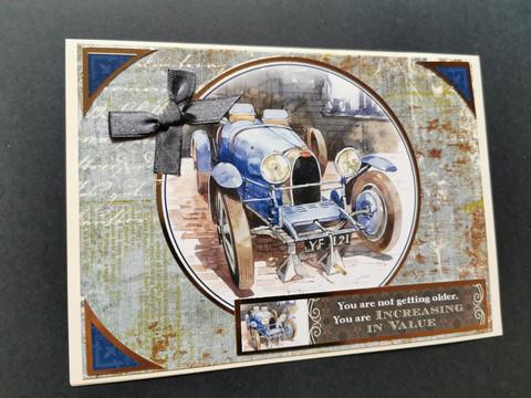 Old blue car card